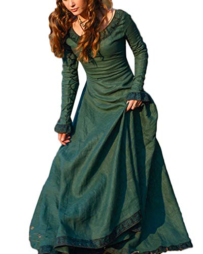 Disfraz Traje Medieval para Mujer Vestido Largo Vintage Princesa Reina Verde M