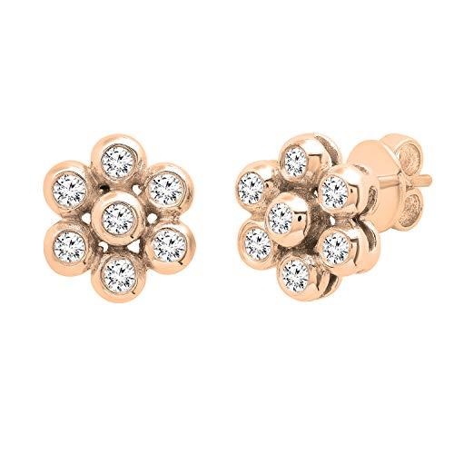 Dazzlingrock Collection Pendientes de tuerca de oro rosa de 18 quilates con diamantes blancos redondos de 0,60 quilates