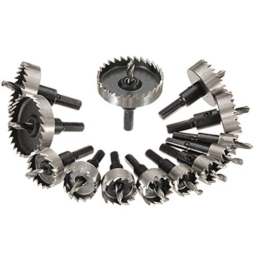 13 PCS 16-53mm HSS Sierra de orificio de broca Juego de sierra para herramienta de cortador de agujero de aleación de metal de acero