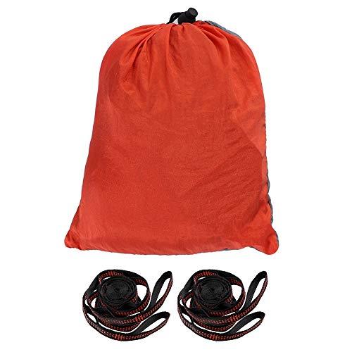 Dubbele hangmat met riem, draagbare dubbele hangmat 200 kg Laadvermogen Ademend hangend bedpak voor tuin, park, terras, reizen, kamperen(Grijs + oranje)