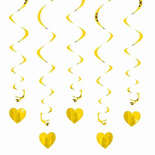 Oblique-Unique® Deckenhänger Spiral Girlanden mit Herzen - Farbe wählbar (Gold)