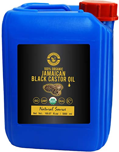 Organic Jamaican Black Castor Oil (169.07 fl oz) USDA Certified, Traditional Handmade with Typical and Traditional roasted castor beans smell,100% Pure black Castor Oil (No Additive, No preservative)