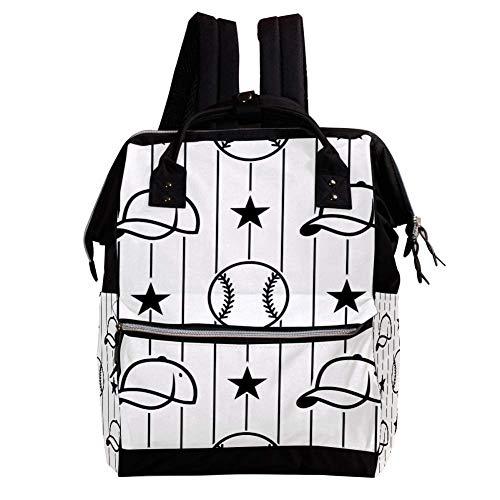 TIZORAX - Pañal de béisbol con rayas para pañales de gran capacidad, bolsa de bebé multifunción, bolsas de pañales de viaje, mamá mochila para el cuidado del bebé