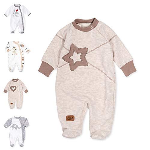 Baby Sweets Unisex Baby Strampler für Mädchen und Jungen/Baby-Overall in Braun Beige als Schlafanzug und Babystrampler im Stern-Motiv für Neugeborene und Kleinkinder in der Größe: 12 Monate (80)