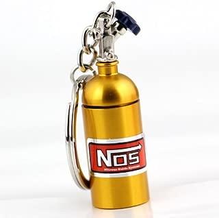 NOS Bottle Keychain Keyring Nitrous Pill Stash Box Gold - Ships from USA