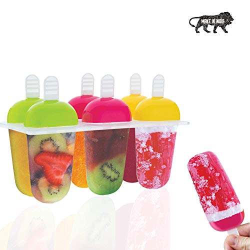 Primelife Plastic Reusable Popsicle Molds Ice Pop Makers Ice Pop Molds Kulfi Maker Mould, Candy Maker Plastic Popsicle Mold, Kids Ice Cream Tray Holder (Set of 6)