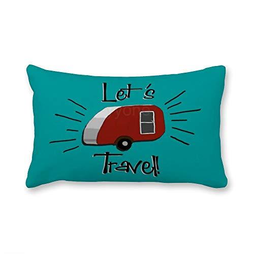 VinMea Decorative Lumbar Pillow Covers Cotton Teardrop Camper Retro Design Throw Pillow Covers 12x20 Inch for Sofa