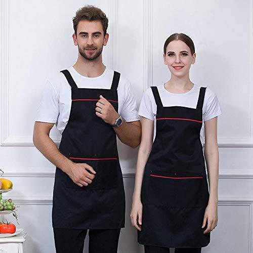 Dtcat Küche und Kochen Damenschürze,Tooling hängenden Hals Schürze,Grill Küchenchef Milch Tee Overalls @ schwarz,verstellbare Kochschürze mit Taschen