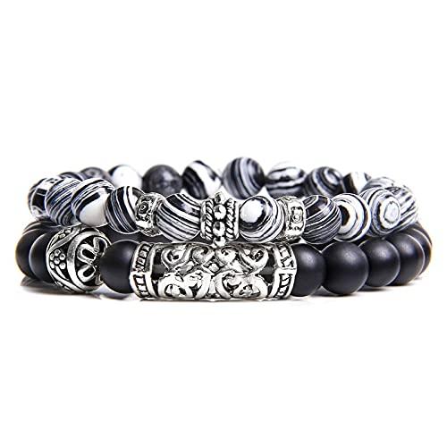 XiaoYing Pulsera hecha a mano para hombre, piedra natural, sodalita, pulsera de cuentas de ágata energética, pulsera de cuentas (color: A, longitud: 19 cm)