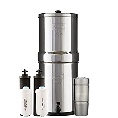 Boroux ROYAL Berkey Water Filter System with 2 Black Purifier Filters (3 Gallons) Bundled with 1 set of Fluoride (PF2) Filters and 1 Double Walled 20 oz Stainless Steel Tumbler Cup