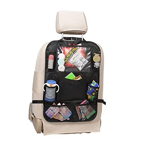 Car Backseat Organizer 1 Pack Waterproof and Durable Car Seat Organizer Kick Mats Muti-Pocket Back Seat Storage Bag,Road Trip Essentials ,Kid Snacks, Toys, Travel Accessories