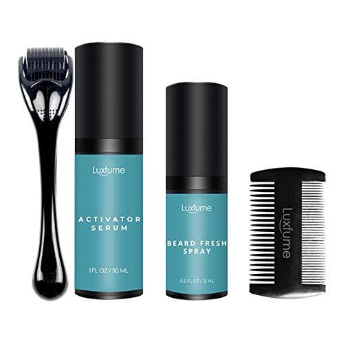 Earthily Bartpflege Set - 30ml Bartwachstum Kit mit Bartroller Bartkamm,Geschenk für Männer