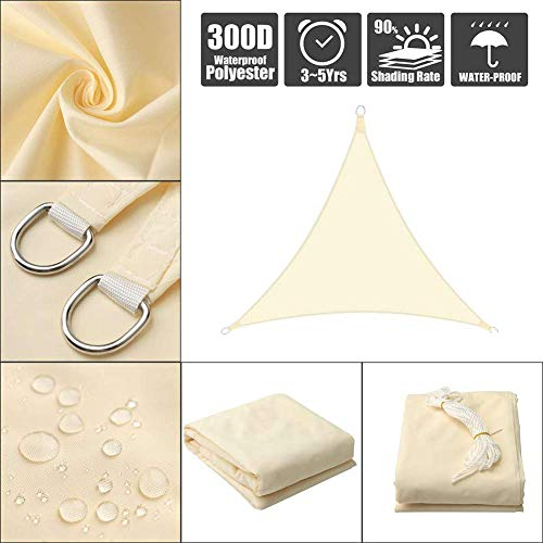 Garden Triangle Anti-UV Sun Shade Sail Outdoor Patio Party Sunscreen Auvent Canopy Resistant Water Sunsail, Customizable, Yellowa, 5X5X5M