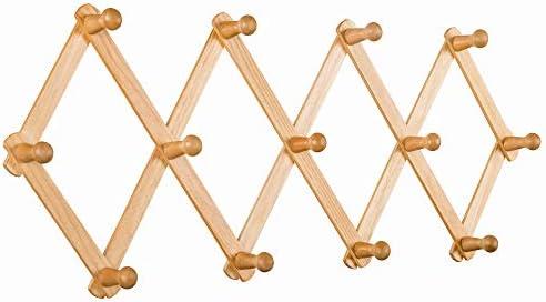 AITUFIY Wood Expandable Coat Rack Accordion Style 13 Pegs Hooks for Hanging Clothes Hat Key product image