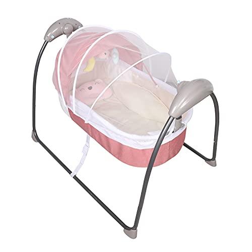 Columpio eléctrico para bebé, 5 velocidades, mecedora portátil, multifunción, diseño portátil con mando a distancia, color rosa