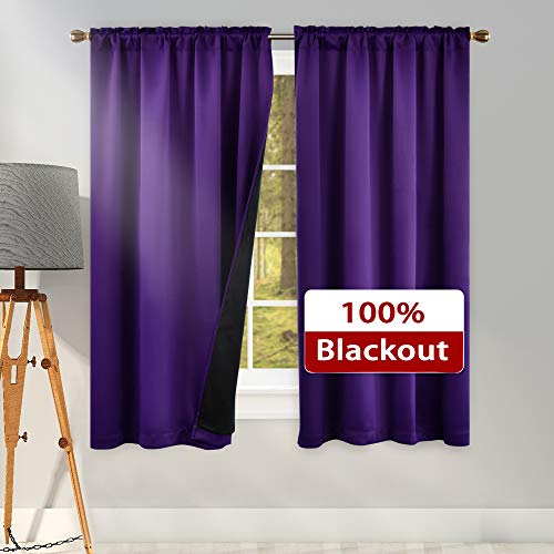 100 Blackout Purple Curtains for Bedroom - 63 Inches Long Double Layer Noise Reducing Curtain Drapes for Living Room (42 Inches Wide Rod Pocket Top 2 Panel)