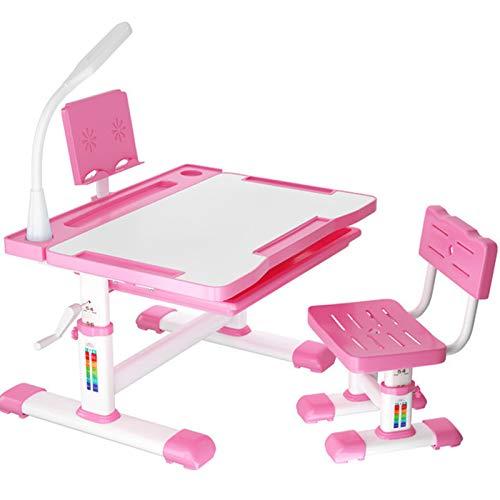 Kinderschreibtisch, höhenverstellbarer Studiertisch für Kinder, ergonomisches Design Kinder Schreibtisch und Stuhl Set, kippbarer Antireflex-Lerntisch für Kinder, mit Lesebrett und Schublade