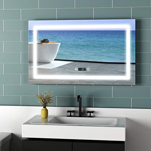 Meykoers Wandspiegel Badezimmerspiegel 100x60cm LED Badspiegel mit Beleuchtung mit Uhr, Touch-Schalter und Beschlagfrei, Lichtspiegel Kaltweiß 6400K Energieklasse A++