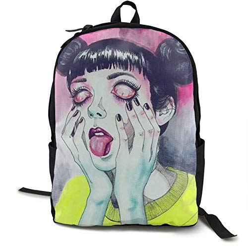 Goth Gotik Gothic Women Girl Art Backpack Boy School Laptop Sackpack For Student Fashion Bookbag With Umbrella Water Cup Pocket Lightweight Cool