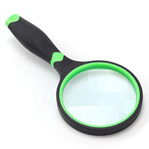 4X Magnifying Glass for Reading and Hobbies, 75mm Non-Scratch Glass Lens Handheld Magnifier, Thickened Rubbery Frame Magnifying glass for Seniors & Kids