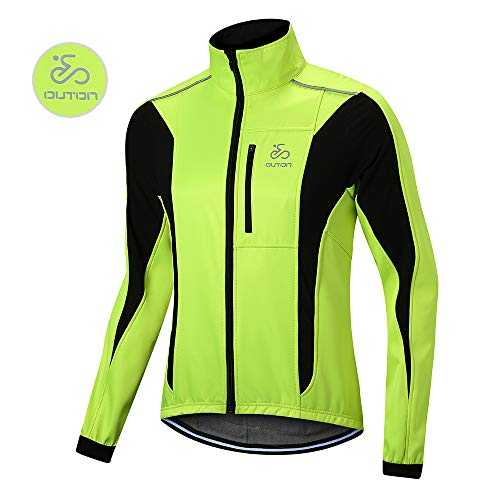 OUTON Chaqueta Ciclismo de Hombre MTB Chaqueta Deportiva Impermeable y a Prueba de Viento Chaqueta Reflectante de Bicicleta Montaña Abrigo para Correr al Aire Libre (Verde, XL)