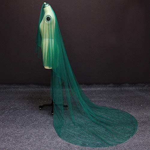 WFSDKN bruidsjurk New Een laag 3 meter groene tule bruidsjurk zonder kam mooie bruidssluier