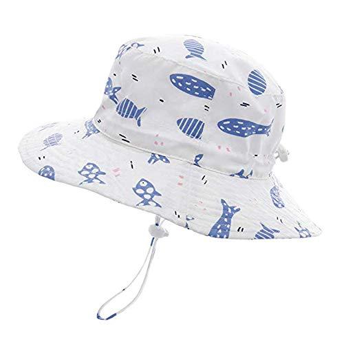 Sonnenhut Mädchen Jungen Kleinkind Sommerhut Fisherhut mit Breiter Krempe, Atmungsaktiver Sommermütze, UV Schutz 50, Kopfumfang verstellbar, Fischmotiv/48cm