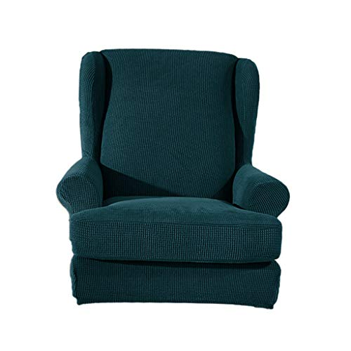 F Fityle Elastische Schonbezug Sesselbezug Sesselhusse Schutzhülle für Ohrensessel - Dunkelgrün