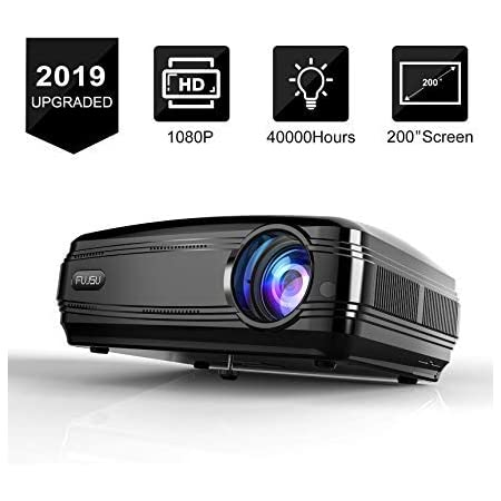 Smartphone FUJSU Native 1080P Projector HDMI Compatible with Laptop Video Projectors for Business PowerPoint Presentations Outdoor Movie Fire TV Stick PS4 Full HD Projector for Home Theater