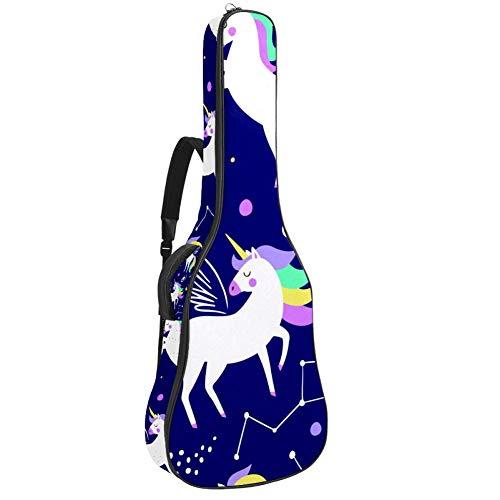 Gitarrenkoffer mit 10 mm extra dick gepolstert, für 104,1 cm große Akustikgitarre, Blau 109x43x12cm/42.9x16.9x4.7 inch Einhorn mit Sternbild