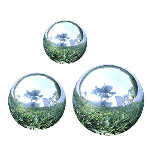 EElabper Jardín Mirando Bola Acero Inoxidable Espejo Sin Fisuras Globo Espejo Polidado Bola Reflectante Esfera 3pcs