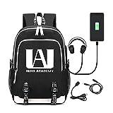 Deeumy Unisex My Hero Academia Anime Mochila Luminous Backpack, Escolar Estudiantes Mochila para Portátil Backpack Bolsa Casual con Puerto de Carga USB (Negro)