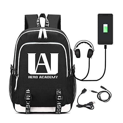 Deeumy Unisex My Hero Academia Anime Rucksack Luminous Backpack, Laptop Buch Tasche Anime Student Schultasche Lässig Daypack Mit USB Ladeport (Schwarz)