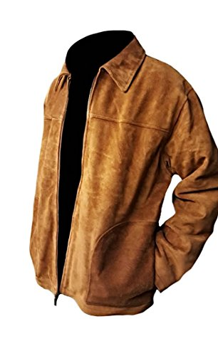 Classyak Men's Fashion Stylish Suede Leather Jacket Brown X-Large