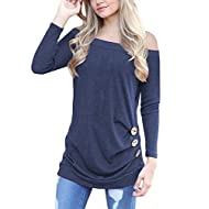 OURS Women's Casual Long Sleeve Round Neck Loose Fit Tunic T Shirts Blouse Tops