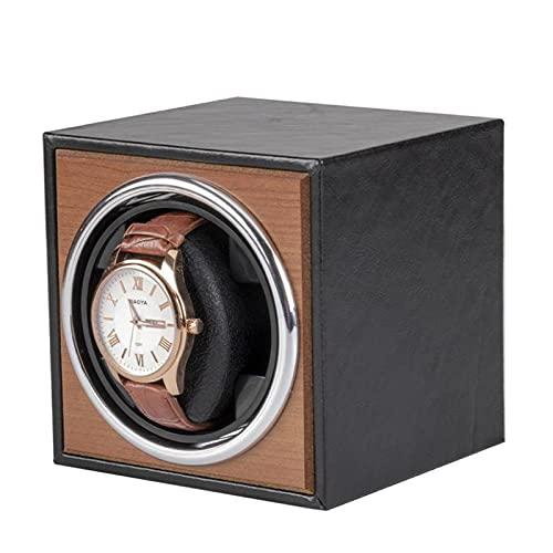 Caja Giratoria para Relojes Renuador De Relojería Automática única, Reloj Mecánico Shaker Bobinado Eléctrico Caja De Enrollamiento Reloj De Espu(Color:Exterior piel sintética negra + estampado cereza)