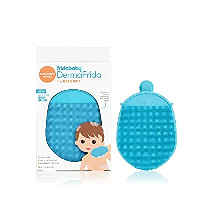 Toddler Silicone Body Bath Brush by Fridababy | DermaFrida The Bath Mitt | Quick-Dry, Bacteria-Resistant Replacement to Kids Washcloth | Fits Both Parent or Child for Early Stage Development