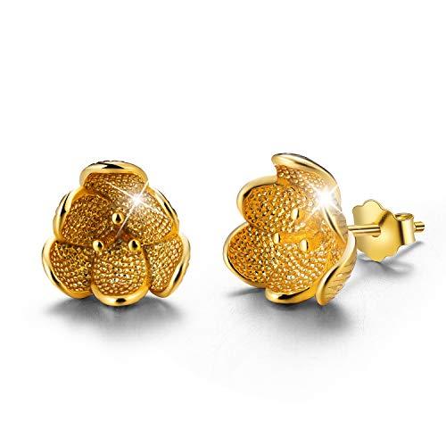 Regalo para ti Springlight S925 Pendientes de botón de plata de ley Vintage Pendiente de flor en 3D para mujeres y niñas, joyería única hecha a mano(Gold)