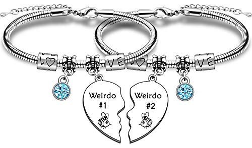 TTOVEN Best Friend Bracelet,Weirdo 1 and Weirdo 2 Bracelet Friendship Gifts Stainless Steel Heart Pendant Bangle for Her Graduation Birthday Wedding Christmas Gifts