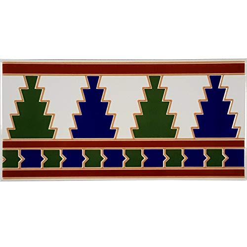 Casa Moro Orientalische Fliesen-Bordüre Arija 28x14 cm rechteckig | Marokkanische Bordüre schöne Wandfliese für Küche Bad Wohnzimmer & Küchenrückwand | FL2007