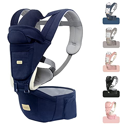 JMMD Baby Carrier with Hip Seat for Newborn & Infant & Toddler 6 in 1 Carrier with Front and Back Carry Designed Ergonomic M Position 360° Baby Soft Carrier Meet Outdoor Traveling All Season Navy Blue