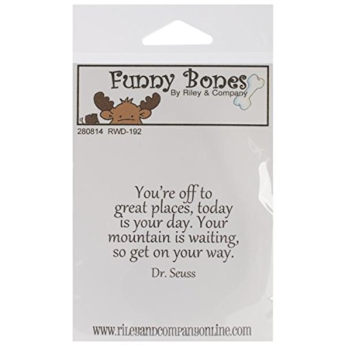 Riley & Company en Caoutchouc Funny Bones s'Accrochent Stamp 5,1 cm X 3,2 cm, You're Off to Great Places