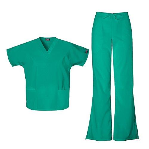 CHEROKEE Women's Workwear Top 4700 & Flare Leg Drawstring Pant 4101 Scrub Set (Surgical Green - X-Small/X-Small)