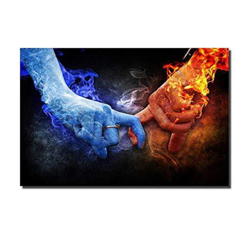 QUNAQ Imágenes de Manos de Hielo y Fuego Dedos en Lienzo Carteles e Impresiones Imágenes de Arte de Pared para Sala de Estar 50X70 cm Sin Marco