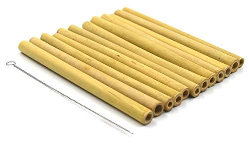 Sunglow Bambus-Strohhalme (12er Pack) mit Reinigungsbürste wiederverwendbar ohne Plastik aus Bambus-Holz