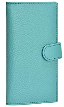 Leather Checkbook Cover RFID Wallets For Women Duplicate Check Card Pen Holder Turquoise