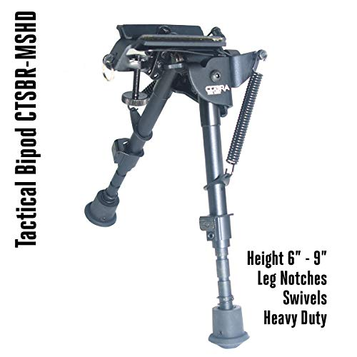COBRA Tactical Solutions | Tactical Bipod Adjustable in Height | Schwenkbar | 15 – 23 cm | For Airsoft Hunting Varmint Air Rifle Shooting Bench Rest | Equals Harris HBRMS