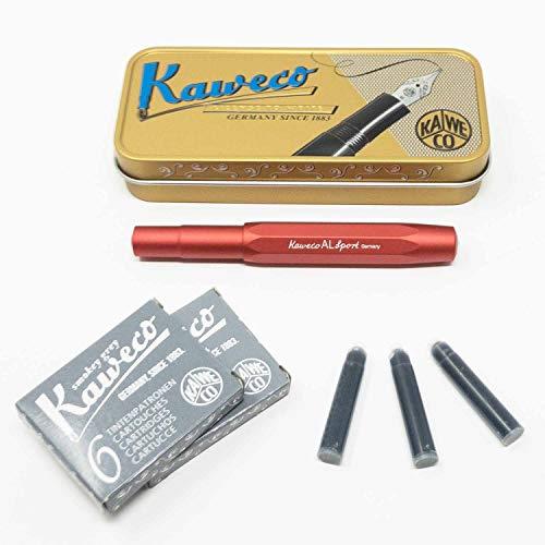 Kaweco Sport Füllhalter Deep Red für Patronen achteckig | Füllfederhalter mit Feder M | Kaweco Set mit Füller Patronen | 12 Patronen mit Kaweco Tinte in Grau GRATIS