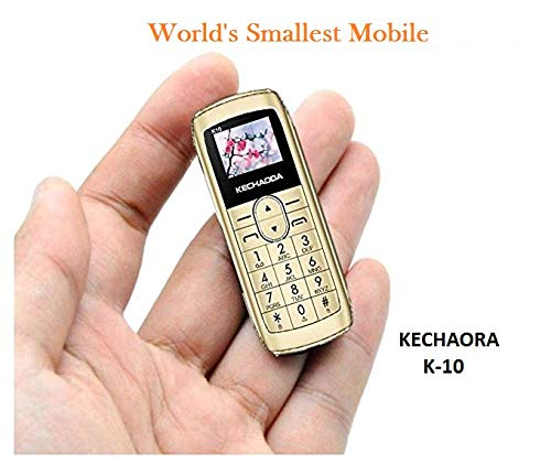 Kechaoda K10 Finger Sized Bluetooth Phone with Single Sim, 0.66 Inch Display, 300mAh Battery, Bluetooth Dialler, Wireless FM (Golden)