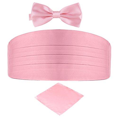 DonDon DonDon 3er Set Herren Kummerbund Fliege Einstecktuch farblich abgestimmt glänzend für feierliche Anlässe - Rosa